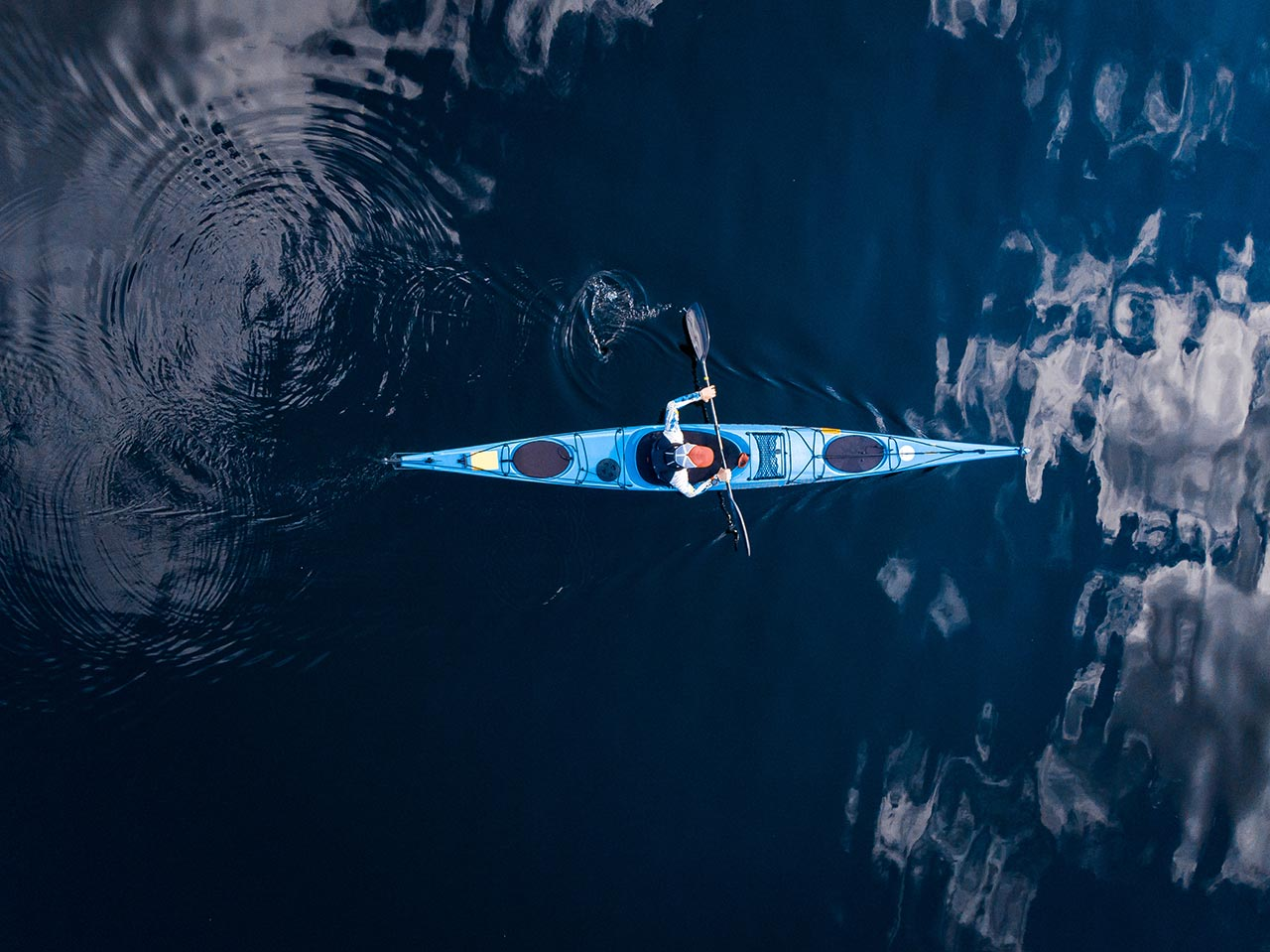 kayak in the sea of Faial, in the Azores