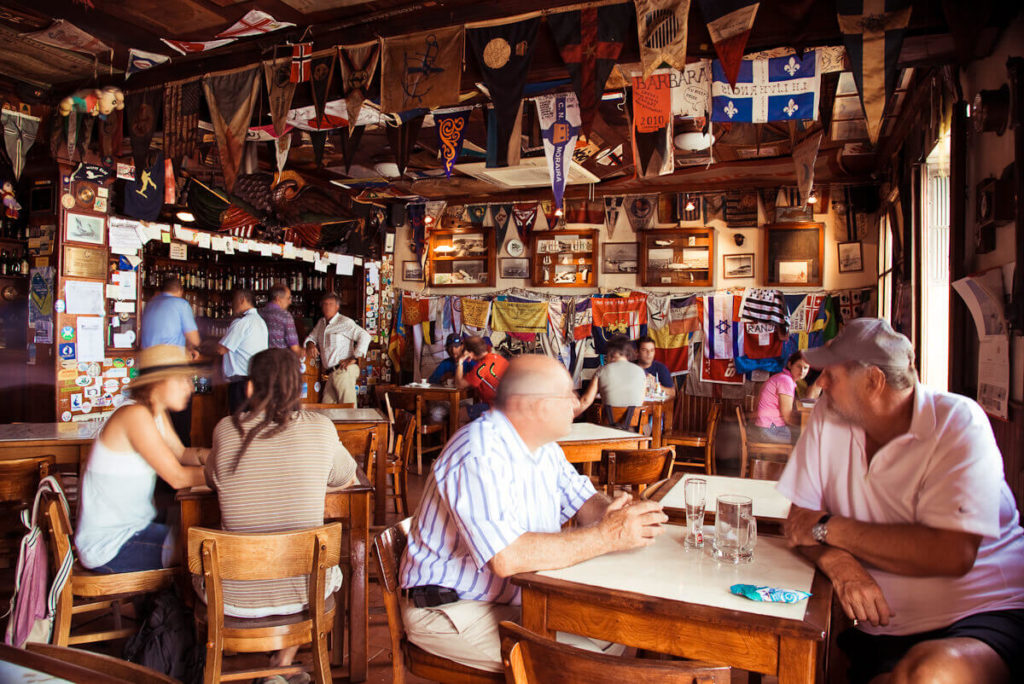 The interior of Peter Café Sport, in Faial, is the most famous café in the Azores.